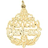 Yellow Gold-plated 925 Silver 31mm Mexican Princess Pendant Necklace