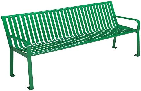 6 Park Bench, Steel Slat, Green