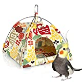 Bird Nest House Bed, Parrot Habitat Cave Hanging Tent, Vibrant Parakeet Snuggle Hut Hammock, Intelligence & Physique Improvement Cage Decor for Small Animals (M)