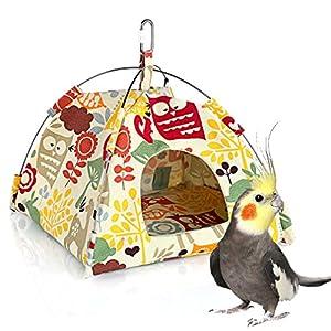 KINTOR Bird Nest House Bed, Parrot Habitat Cave Hanging Tent, Vibrant Parakeet Snuggle Hut Hammock, Intelligence & Physique Improvement Cage Decor for Small Animals (M) 93