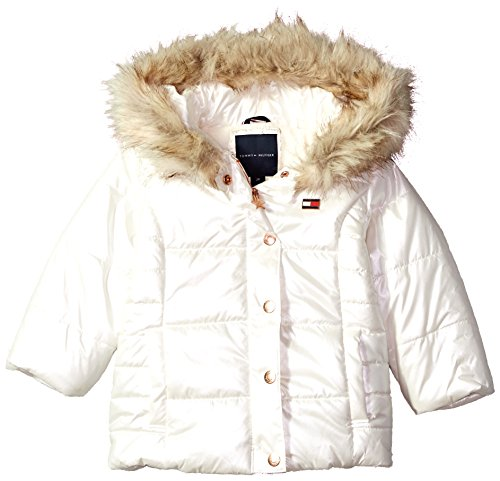 Tommy Hilfiger Toddler Girls' Peacoat Puffer Jacket, Irridescent White, ()