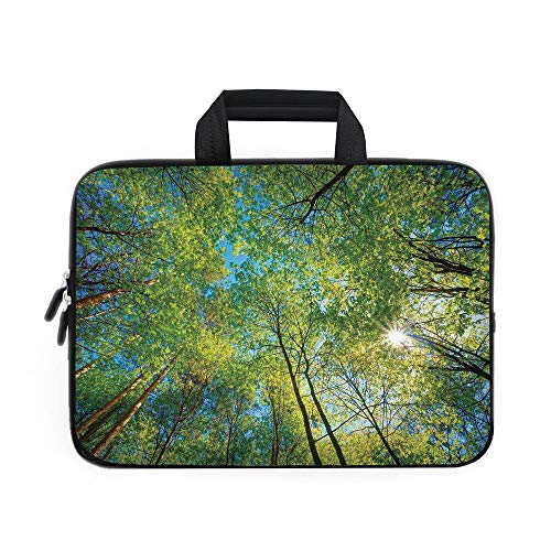 - Forest Home Decor Laptop Carrying Bag Sleeve,Neoprene Sleeve Case/Evergreen Back Nature Area Mother Earth Lime Trunk Mangrove Flora Willow Decor/for Apple Macbook Air Samsung Google Acer HP DELL Lenov