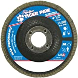 "Weiler 51121 Tiger Paw High Performance Abrasive Flap Disc, Type 29 Angled Style, Phenolic Backing, Zirconia Alumina, 4-1/2"" Diameter, 7/8"" Arbor, 80 Grit, 13000 RPM (Pack of 10)"