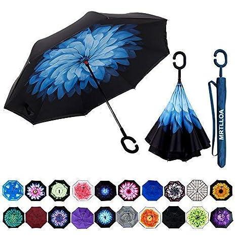 5512083560aa MRTLLOA Double Layer Inverted Umbrella with C-Shaped Handle, Anti-UV  Waterproof Windproof Straight Umbrella for Car Rain Outdoor Use