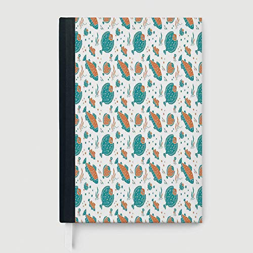 Thick Notebook/Journal,Underwater,Business Notepad Daolin Paper,Flounder and Trout Naive Lino Style Algae Underwater Marine Ocean Sea Pattern,96 Ruled Sheets,B5/7.99x10.02 in