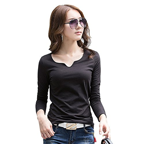 Womens Long Sleeve Grade (Spring New Top Grade Long Sleeve Cotton Slim V Neck Fashion Bottoming T Shirts Cool Shirt(Large, Black))