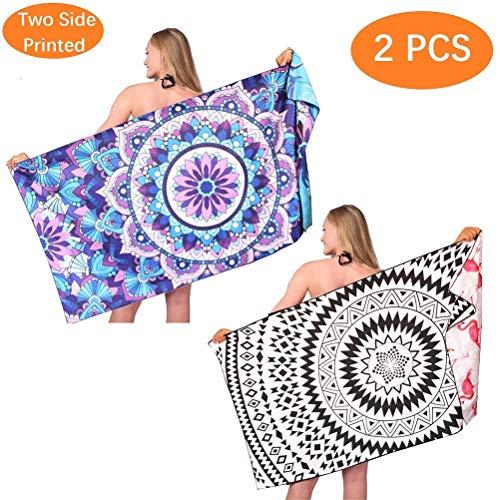 (Mandala Sand Free Beach Towel-Oversized Big Large Fast Dry Super Absorbent Lightweight Thin Bath Towels Blanket for Travel Pool Swimming Camping Yoga Mat Girls Women Men Adults 2 Packs)