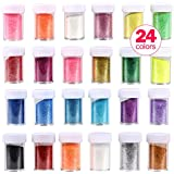 Glitter Shakers Wokaar DIY Crafts Ultra Fine Glitter Shake Set 24 Pack Assorted Colors for Arts, Crafts,Body, Face, Slime, Party Invitations, Holiday Crafts