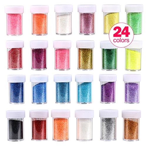 Glitter Shakers Wokaar DIY Crafts Ultra Fine Glitter Shake Set 24 Pack Assorted Colors for Arts, Crafts,Body, Face, Slime, Party Invitations, Holiday - Holiday Glitter