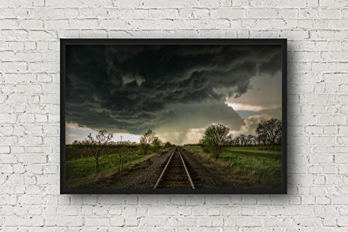 Train Track Photography Art Print - Picture of Tracks Leading Into Storm Clouds in Kansas Fine Art Decor Artwork for Home Decoration 5x7 to 30x45 by Southern Plains Photography (Image #2)