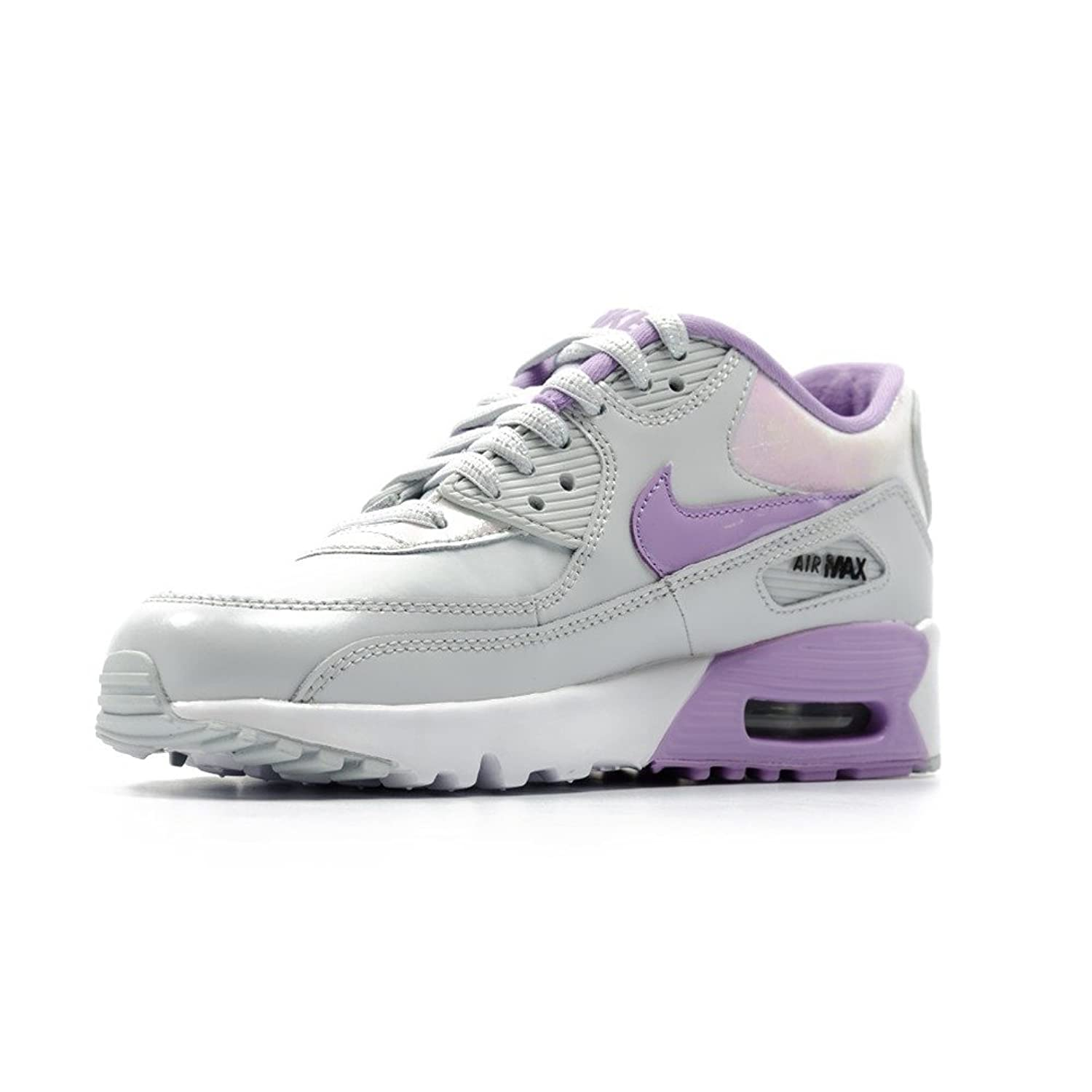 buy popular f6347 006a0 Amazon.com   Nike Kid s Air Max 90 SE LTR GS, Pure Platinum   Urban Lilac    Running