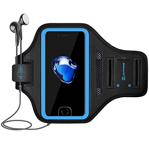 LOVPHONE iPhone 7/8 Plus Armband, Man/Women Running Sport Armband for iPhone 7/8 Plus Suitable for Gym Workout w/Kickstand Key Bag Earbuds Holder Card Slot Case, Water Resistant (Blue)