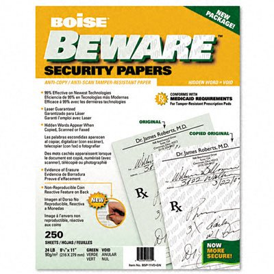 Boise BSP-11VD-GN Beware Security Paper, Hlthcare, Void, 8-1/2 X 11, Green, 250/Pack