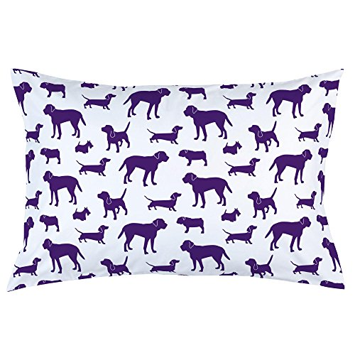 Carousel Designs Purple Dogs Pillow Case - Organic 100% Cotton Pillow Case - Made in The USA ()