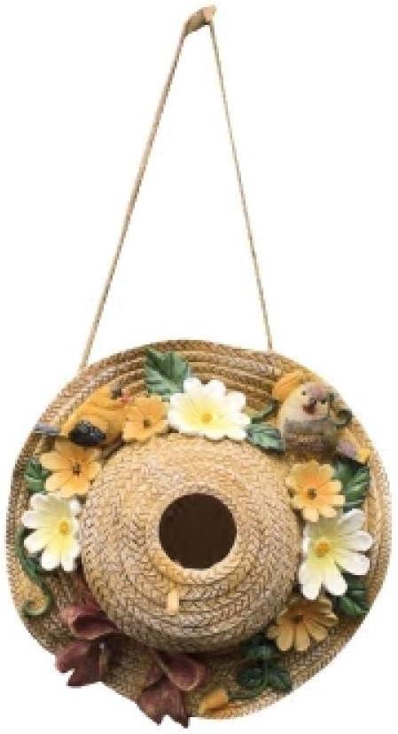 LJXLXY Decoración Manualidades Sombrero de Paja Exterior Resina casita para pájaros casita para pájaros Nido Villa jardín jardín