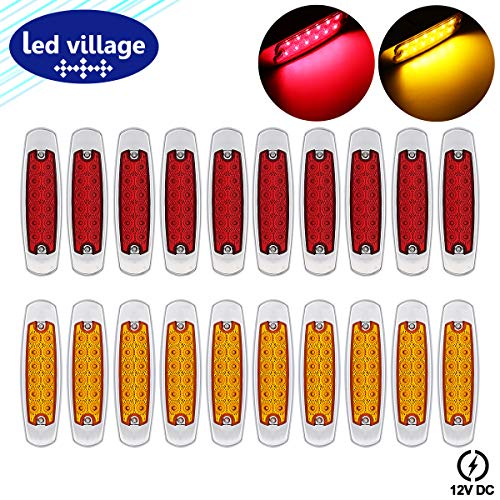 "LedVillage [Pack of 20] 12V DC Fish Shape 6.4"" Ultra Slim 10 Amber + 10 Red LED 12 Diodes Indicator Truck Clearance Lights Flush Mount Side Maker Lamp Lorry Peterbilt Style Trailer RV Chrome Housing"