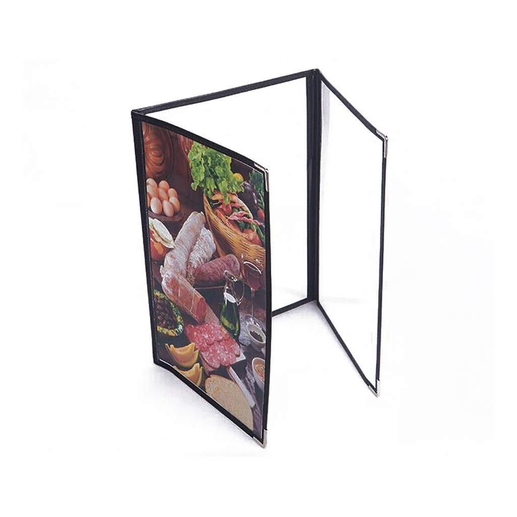 QSJY File Cabinets Document Display Folder a4 Black with 3 Panels and 6 Pockets(Leather + PVC) 24.532CM