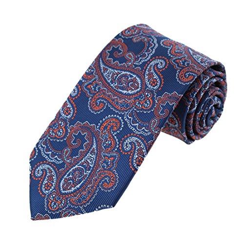 EAGB0122 Dark Blue Orange Patterned Microfiber Mens Tie Best For Dress Extra Long Tie By Epoint