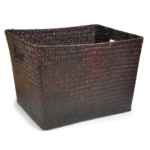 The Lucky Clover Trading Seagrass Storage & Utility Basket, Mahogany, 12.25