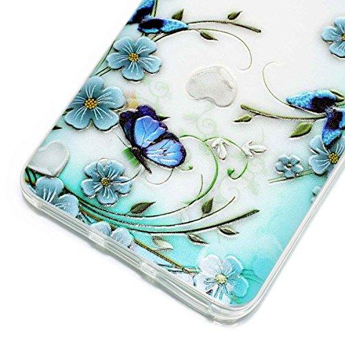 Ecoway TPU Funda Funda para Xiaomi Redmi Note 4, Teléfono de silicona suave patrón de relieve shell Resistente a los arañazos Contraportada Funda de silicona Parachoques Carcasa Funda Bumper - Rose mariposas