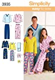 Simplicity Sewing Pattern 3935 Miss/Men/Child Sleepwear, A (XS-L/XS-XL)