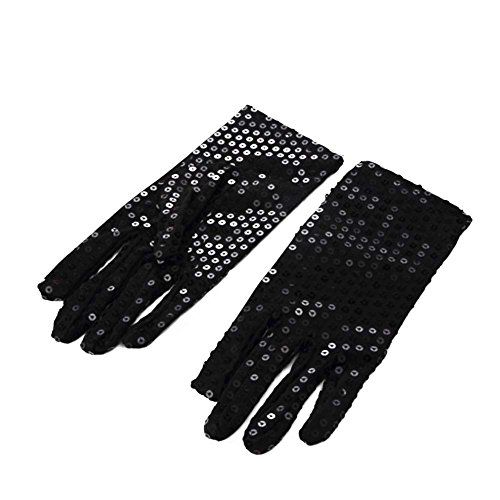 1 Pair Michael Jackson Costume Dress up Dance Sequin Gloves for Cosplay Party Dance (Black Or White Costume Michael Jackson)