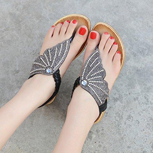 yalanshop Femme été bohème papillon strass coin de sandales avec confort antidérapant plage loisirs étudiant toe chaussures bord de la mer 39 C0uGCq