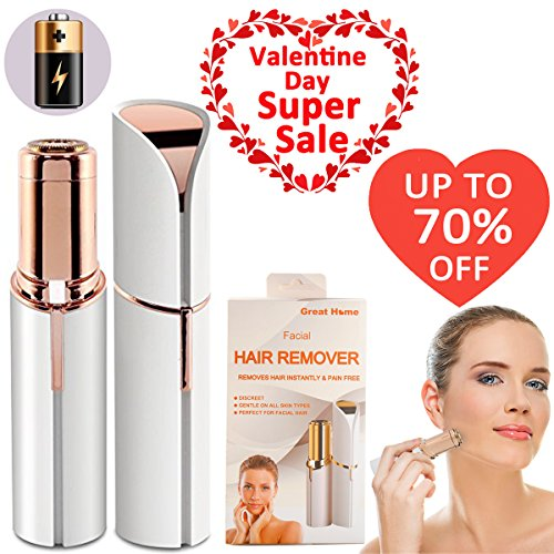 Facial Painless Hair Remover for Women with Battery Mini Lipstick Hair Removal Shaver for Face Chin Cheek Lip Valentines Day Best Gift Ideal by Great Home