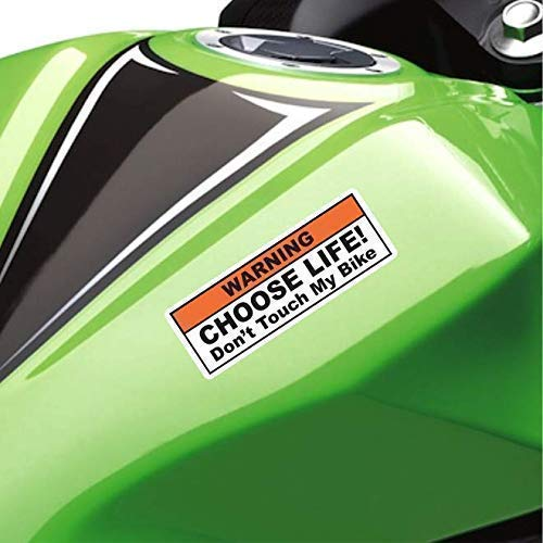 ((2X) Funny Warning Sticker Label Vinyl Decal - Choose Life Don't Touch My Bike - Fits Cruiser, Sport, Street Motorcycle Tank Fender Dirt Bike)