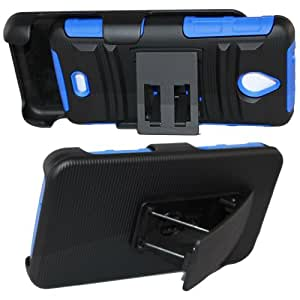 SOGA® Hybrid Heavy Duty Cover Protector Case with Belt Clip Holster Kickstand for Huawei Ascend Plus H881C Valiant Y301 (Tracfone, Straight Talk, Net 10, Metro PCS) – Black / Blue [SWB305]