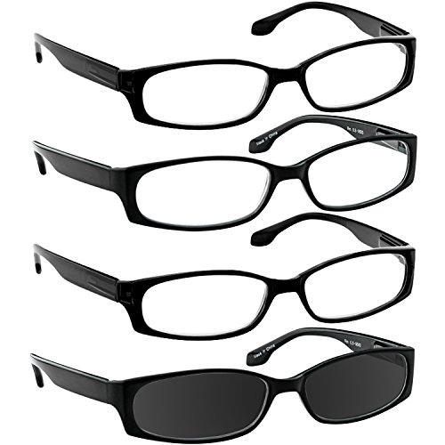 Reading Glasses 3.50 3 Black 1 Sun (4 Pack) F503 TruVision Readers (Deals 1)
