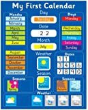"""Magnetic My First Learning Calendar - Blue Rigid board (also available in PINK) 16"""" x 13"""" (40 x 32cm) with hanging loop (Designed in the UK & Top seller on Amazon UK)"""