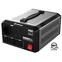 KRIËGER 1150 Watt Voltage Transformer 120V to from 230V AC outlet American European Step up down Converter 50 60 Hz outlets with 2.1A USB includes IEC German Schuko Nema 5-15P cord connection MET certified approved under UL CSA ULT1150