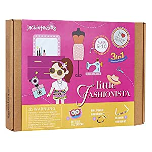 Fashion Themed Art and Craft Kit for Girls   3 Activities-in-1   Best Girl Gift for Ages 4 to 8 Years   Includes Beautiful Felt and Foam Embellishments (Little Fashionista 3-in-1)