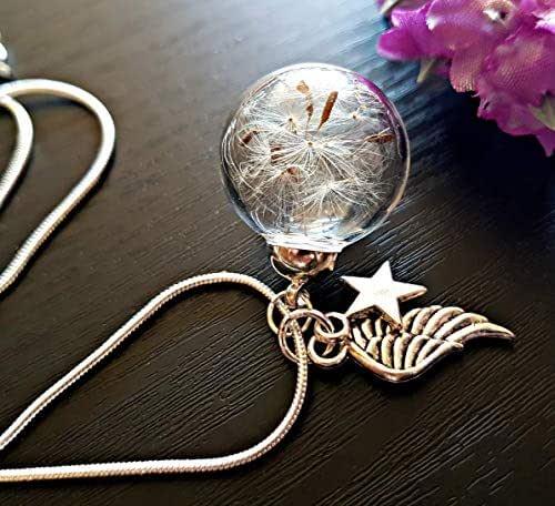 Regalo de Navidad Ala del ángel Collar de diente de león Cadena de plata esterlina Caja de regalo - Estrella colgante joyería de simpatía regalo de duelo para mujeres
