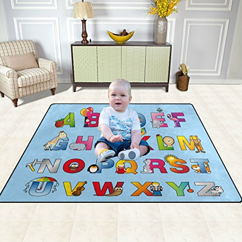Feelings Rug Abc (My Little Nest ABC Kids Children Alphabet Area Rug Educational Carpets Soft Non-Slip Boys Girls Baby Room Mat Blue for Playroom Bedroom Classroom 4'10