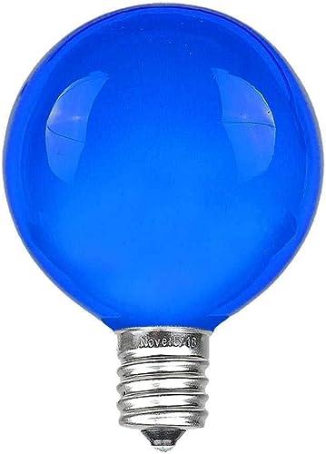 G40 Patio String Lights with 25 Blue Globe Bulbs – Hanging Garden String Lights – Vintage Backyard Patio Lights – Outdoor String Lights – Market Cafe String Lights – Black Wire – 25 Foot
