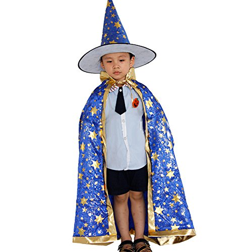 Happy Halloween!Childrens' Halloween Costume Wizard Witch Cloak Cape Robe and Hat for Boy Girl ANJUNIE(Blue,Freesize) -