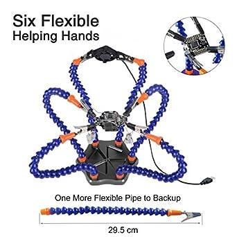 Soldadoras de manos flexibles,tercera mano, herramienta de estación de soldadura brazos flexibles de 6 brazos, base de aluminio antideslizante,bandejas ...