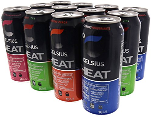 Celsius Heat Carbonated Thermogenic Pre-Workout for an Accelerated Metabolism and Healthy Energy 12 16oz Cans Variety Pack 4