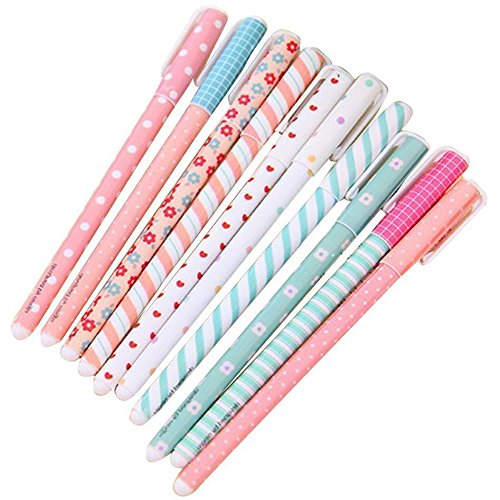 - LEFV™ 10 Pack Multi Colors Colorful Gel Ink Pen Cute Korean Love Dots Flower Pen Kawaii Stationery 10 Colors Set for Office Student Girls Boys Teens Artist
