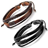 Aroncent Adjustable Braided Leather Bracelets Wristband for Men and Women 2 - 4 PCS