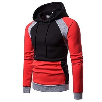 Hombre camiseta tops otoño casual, ❤ Sonnena Sudadera con capucha de manga larga con capucha y manga raglán otoñal de invierno para hombre: Amazon.es: ...