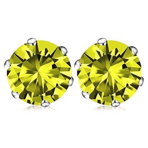 November Birthstone Stud Earrings, Swarovski Element AAA Cubic Zirconia Stainless Steel Earrings for Women Girls (Citrine)