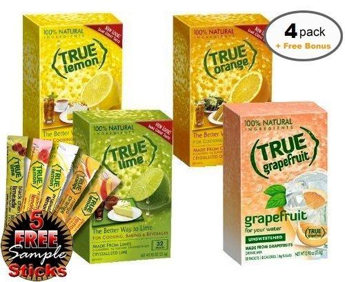 True Lemon, Lime, Orange & Grapefruit 32ct (4bx 32ct each) plus FREE sample packs of True Lemon Original Lemonade, Mango Orange, Peach Lemonade, Black Cherry Limeade, and Raspberry Lemonade]()