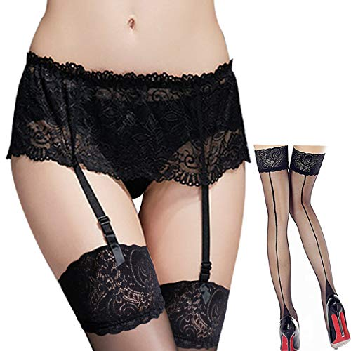 ac742d744f8 Women s Lace Suspender Garter Belt Set and Back Seam Lace Top Thigh high  Stockings Black