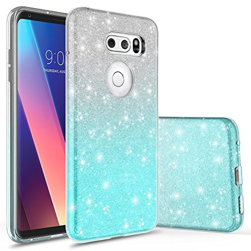 LG V30 Case, LG V30 Plus Case, Rosebono Cute Fashinon Slim Luxury Shinning Sparkle Bling Classy Glitter Sparkle Girl Girly Women Protective Shockproof Case Cover for LG V30 (Silver/Teal)
