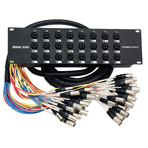 Seismic Audio SARMSS-24x515 Rack Mount 24 Channel XLR TRS Combo Splitter Snake Cable - 5' & 15' XLR trunks by Seismic Audio