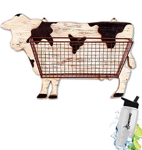 Gift Included- Barnyard Animal Country Farmhouse Themed Kitchen Storage & Organization Wall Baskets Cow + FREE Bonus Water Bottle by Homecricket by HomeCricket
