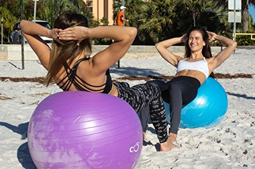 Live Infinitely Exercise Ball (55cm-95cm) Extra Thick Professional Grade Balance & Stability Ball- Anti Burst Tested Supports 2200lbs- Includes Hand Pump & Workout Guide Access Purple 75cm by Live Infinitely (Image #6)